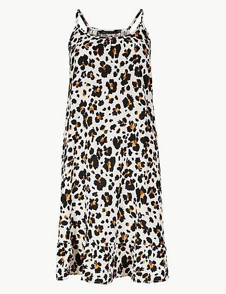 Animal Print Woven Beach Dress