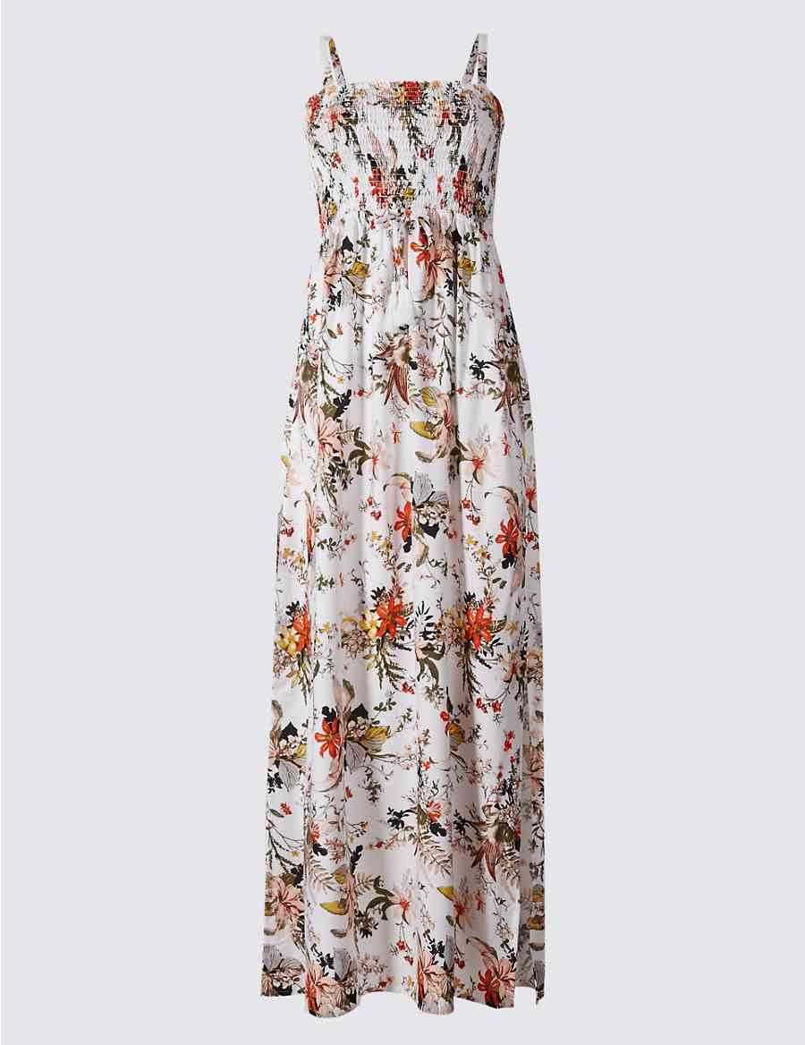 1a18c6ef6042 Floral Print Shirred Maxi Beach Dress
