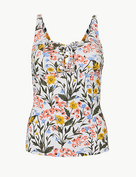 Floral Print Lace-up Tankini Top