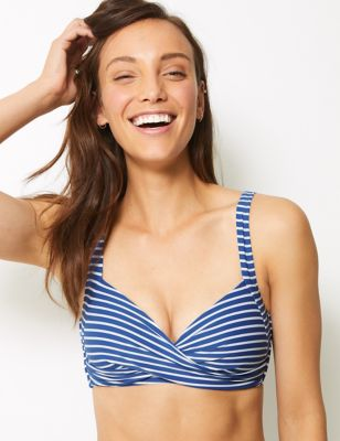 Striped Plunge Bikini Top