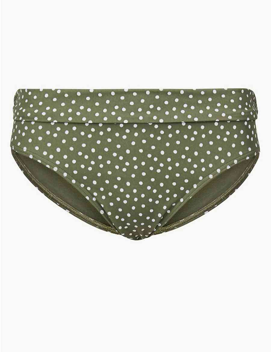 3cfd1e5063 Spot Print Roll Top Bikini Bottoms