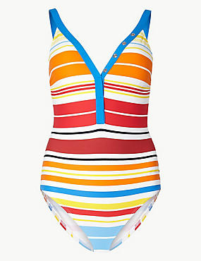 Secret Slimming™ Multi-Colour Striped Swimsuit