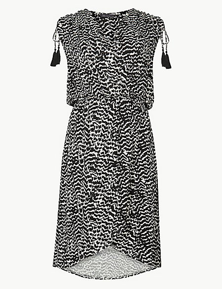Jersey Print Wrap Beach Dress