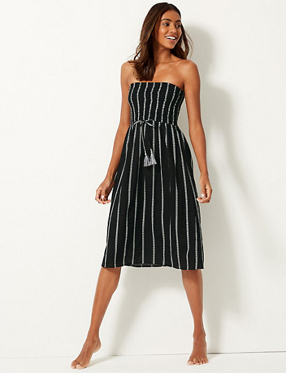 b4714719a80a6 Pure Cotton Striped Swing Beach Dress | Dresses | Marks and Spencer AU