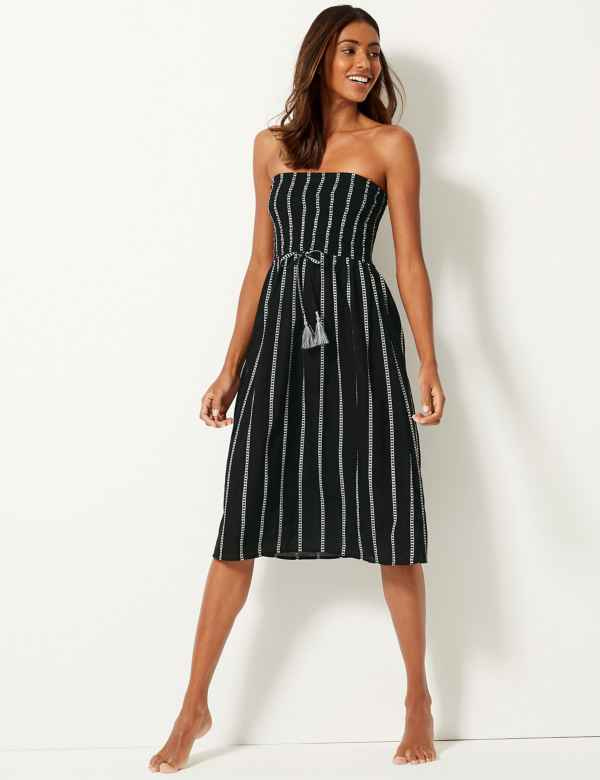 537439b03fb3 Pure Cotton Striped Swing Beach Dress