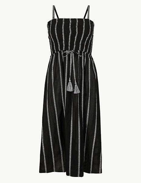 Pure Cotton Striped Swing Beach Dress