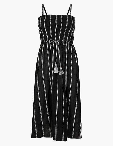 Pure Cotton Striped Beach Dress