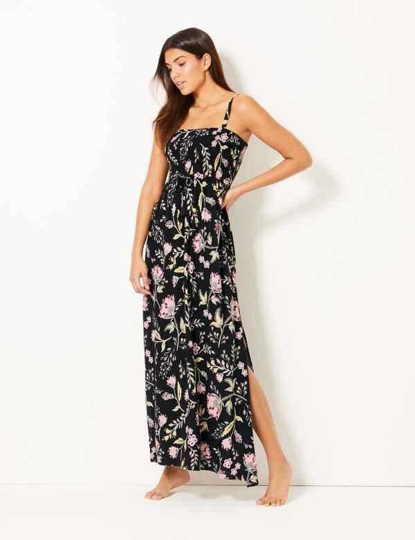 b54eb07003c1 Floral Print Beach Maxi Dress
