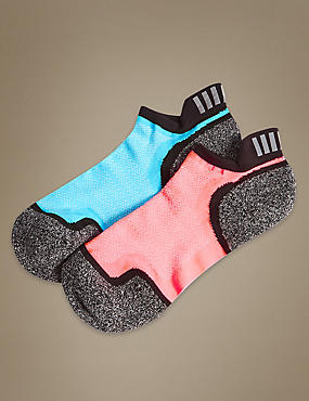 2 Pair Pack High Impact Trainer Liner Socks