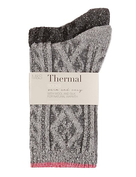 2 Pair Pack Thermal Cable Knit Socks with Wool