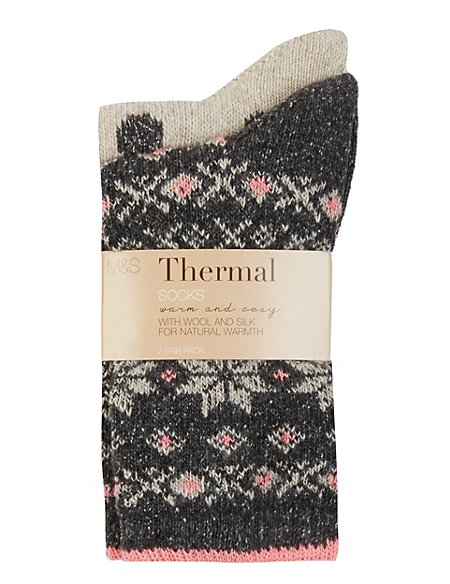 2 Pair Pack Assorted Ankle Socks with Wool