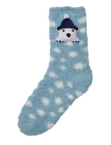 3D Polar Bear Cosy Bed Socks with Flashing LED Light
