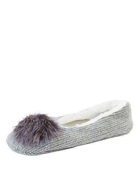 Pom-Pom Ballet Slipper Socks
