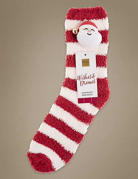 Santa 3D Head Ankle Socks