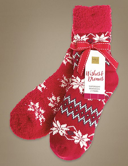 2 Pair Pack Snow Flake Ankle Socks