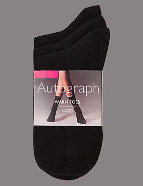 3 Pair Pack Warm Toes Ankle High Socks