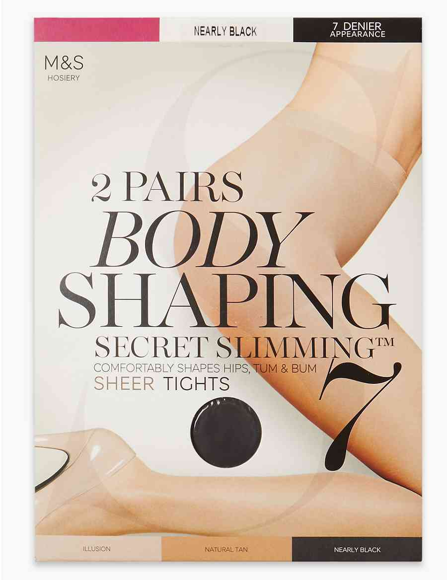 056df77351 2 Pair Pack 7 Denier Secret Slimming trade  Sheer Body Shaper Tights