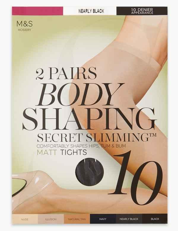 b3b64ca78 2 Pair Pack 10 Denier Secret Slimming™ Matt Body Shaper Tights
