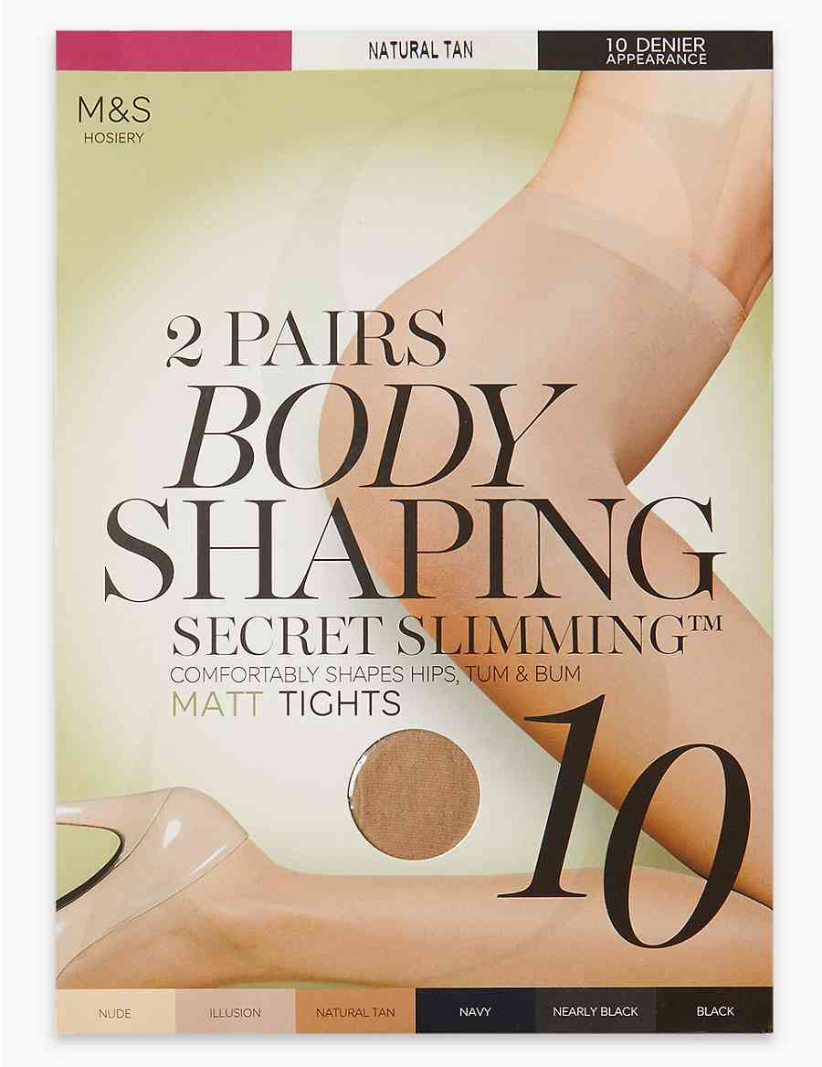 c3c027aead 2 Pair Pack 10 Denier Secret Slimming trade  Matt Body Shaper Tights