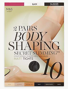 2 Pair Pack 10 Denier Secret Slimming™ Matt Body Shaper Tights