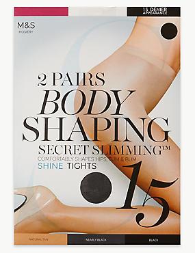 2 Pair Pack 15 Denier Secret Slimming™ Shine Body Shaper Tights