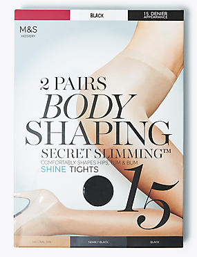 2 Pair Pack 15 Denier Secret Slimming™ Shine Body Shaper Tights