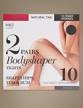 2 Pair Pack 10 Denier Matt Body Shaper Tights