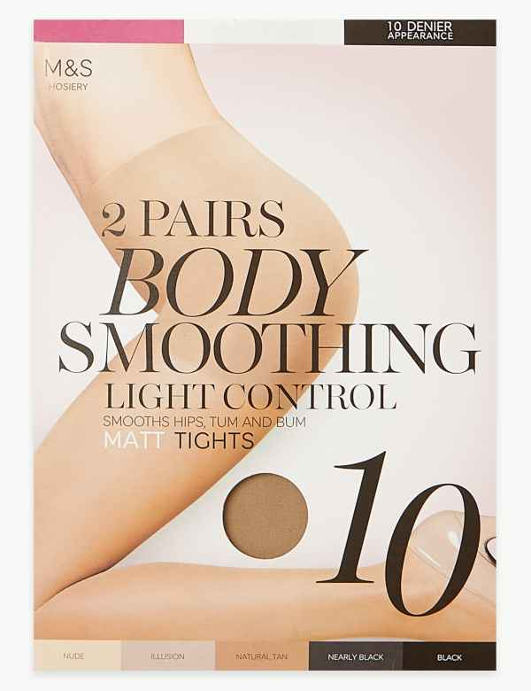 007219f69a101 2 Pair Pack 10 Denier Body Smoothing Tights