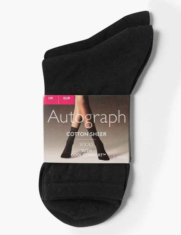 0f78ea3fe8aa 2 Pair Pack Sheer Ankle High Socks