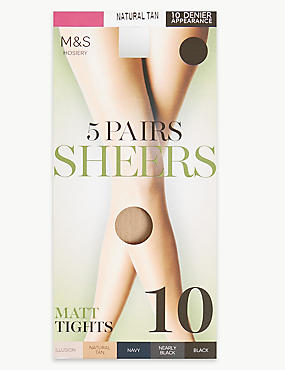 5 Pair Pack 10 Denier Matt Tights