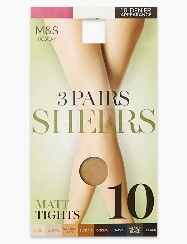 49fb733b094 3 Pair Pack 10 Denier Tights. M S Collection