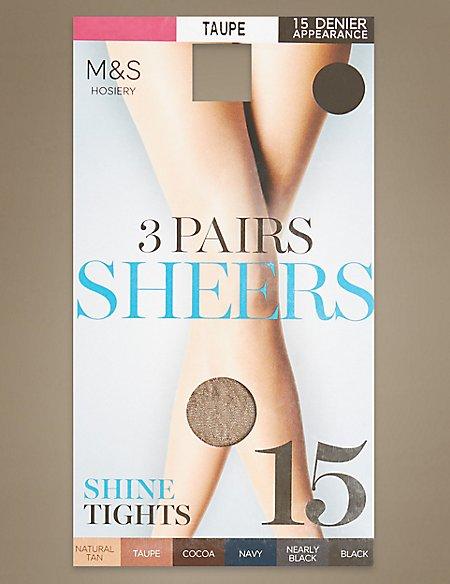 3 Pair Pack 15 Denier Sheer Shine Tights