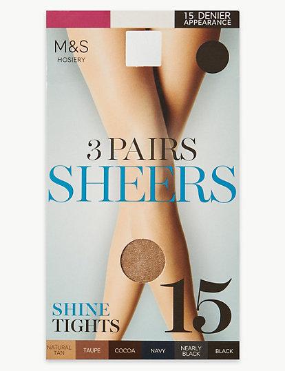 4e539a91a 3 Pair Pack 15 Denier Sheer Shine Tights
