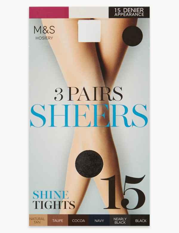 78749b8855780 3 Pair Pack 15 Denier Sheer Shine Tights