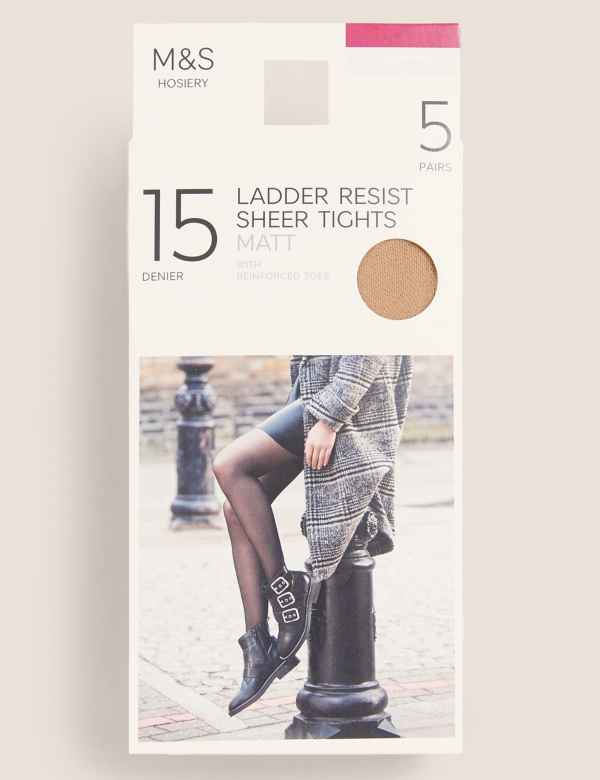 b9d16fa626550 5 Pair Pack 15 Denier Ladder Resist Matt Tights