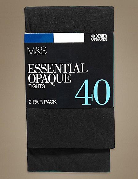 2 Pair Pack 40 Denier Opaque Tights
