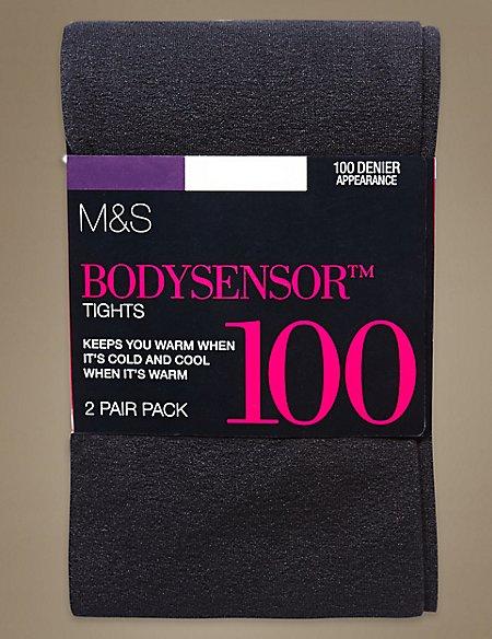 2 Pair Pack 100 Denier Body Sensor™ Opaque Tights