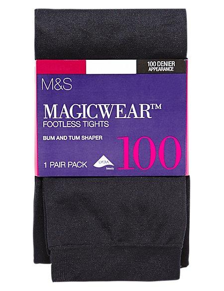 100 Denier Body Sensor™ Magicwear™ Bum & Tum Opaque Bodyshaper Footless Tights
