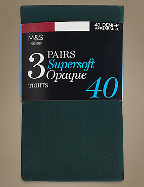 3 Pair Pack 40 Denier Tights