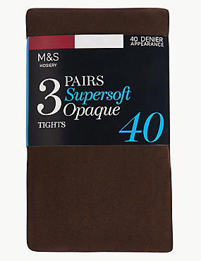 3 Pair Pack 40 Denier Tights