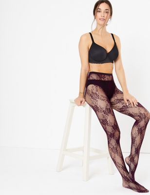 Floral Lace Tights by Marks & Spencer