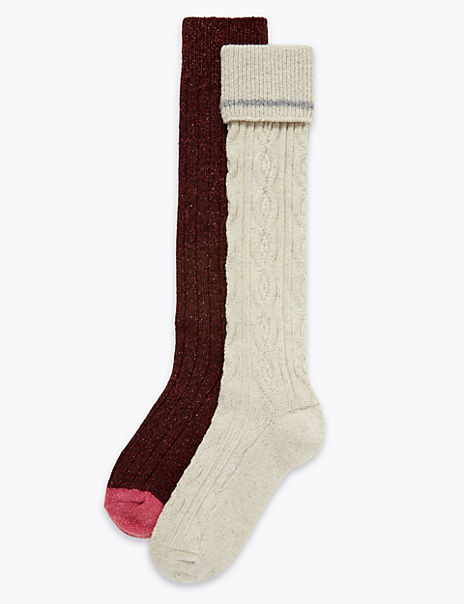 2 Pairs of Thermal Cable Knit Socks