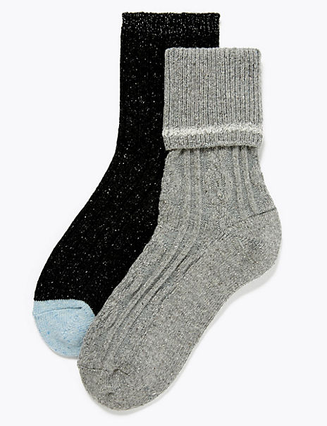 2 Pack Thermal Cable Knit Socks