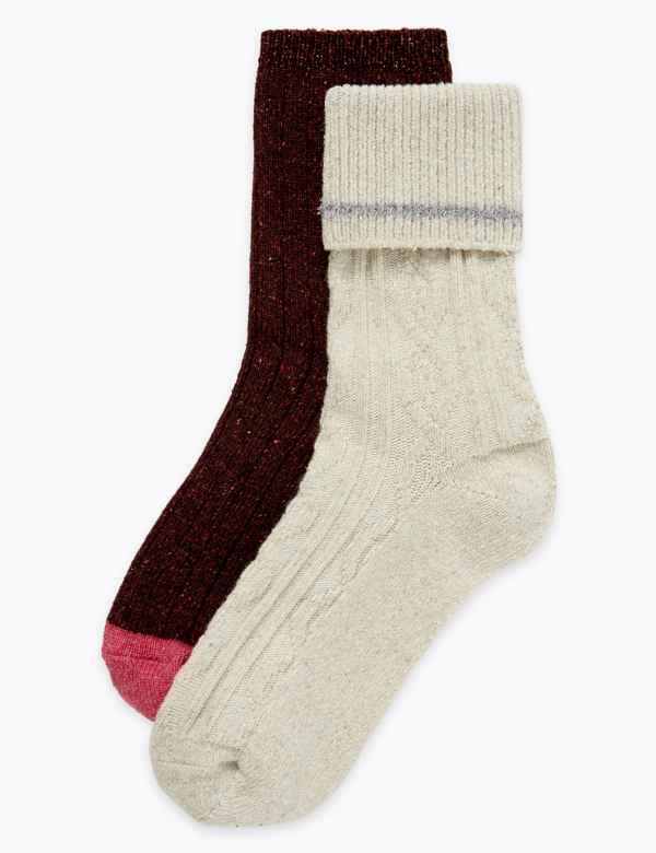 2 Pair Pack Cable Knit Thermal Socks Ms Collection Ms