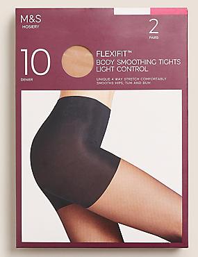Pack de 2 pares de medias de 10deniers transparentes de sujeción ligera Flexifit™