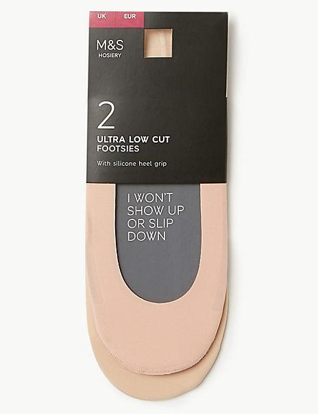 2 Pair Pack Ultra Low Cut Footsies