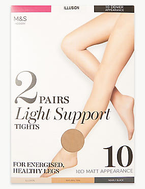 2 Pair Pack 10 Denier Tights