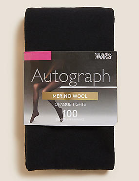 100 Denier Merino Wool Blend Opaque Tights