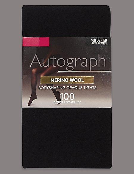 100 Denier Merino Wool Opaque Body Shaper Tights