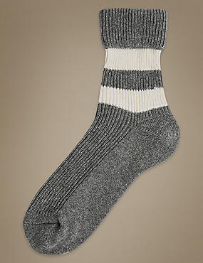 Pure Cashmere Striped Ankle High Socks